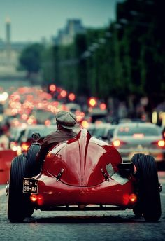 Alfa Romeo F1 159. It would appear to the naked eye that this Alfa is stuck in traffic. When in reality it had broken down so many times when the roads were clear, that traffic eventually built up around it. (Alfa joke)