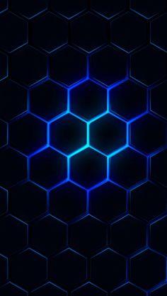 Blue Glow Black Geometric Wallpaper
