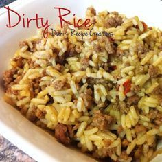 Southern Style Dirty Rice 1 lb. ground meat 2 1/2 cups uncooked long grain white rice(used uncle ben's)  3 tbsp. Creole Seasoning (used Zatarain's) 1 1/2 tbsp. of Zat...