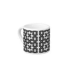 Her Vintage Girly Style Black & White Damask Girls Espresso Mug by Color Pop