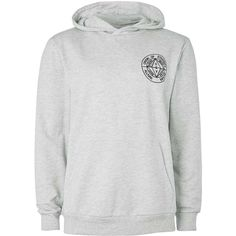 TOPMAN Grey Omega Print Hoodie (€37) ❤ liked on Polyvore featuring men's fashion, men's clothing, men's hoodies, grey, mens grey hoodies, mens cotton hoodies, mens hoodies, mens sweatshirts and hoodies and mens patterned hoodies