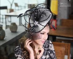 Women Dress Hair Fascinator Hair Accessories Women Hair Clips Charming Women Hair Fascinator Black Fashion Feather Mesh Stones Decorations Online with $27.23/Piece on Junesyounghats's Store | DHgate.com