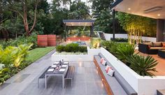 Modern Backyard Design Modern Backyard Design never walk out models. Modern Backyard Design is usually furnished in a numbe. Backyard Pavilion, Backyard Patio Designs, Modern Backyard, Patio Ideas, Concrete Backyard, Backyard Layout, Cement Patio, Gravel Patio, Modern Landscaping