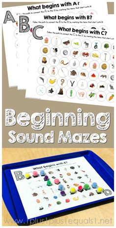 Beginning Sounds Mazes.abc are free Kindergarten Literacy, Preschool Learning, Early Learning, Preschool Activities, Learning Spanish, Listening Activities, High Frequency Words Kindergarten, Beginning Sounds Kindergarten, Work Activities