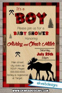 Forest Baby Shower Invitation - Moose Lumberjack Baby Shower Invitation - Hunting Themed Baby Shower