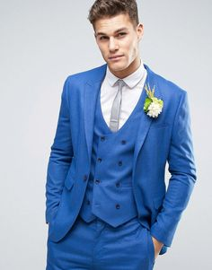 Get this Asos's blazer now! Click for more details. Worldwide shipping. ASOS WEDDING Skinny Suit Jacket in Blue Micro Texture - Blue: Suit jacket by ASOS, Textured woven fabric, Contains stretch for comfort, Lined with internal pocket, Designed to match our bridesmaids dresses, Peak lapels, Single button opening, Skinny fit - cut very closely to the body, Dry clean, 62% Polyester, 36% Viscose, 2% Elastane, Our model wears a 40/102 cm and is 193cm/6'4 tall, Comes in a suit bag. With floral…