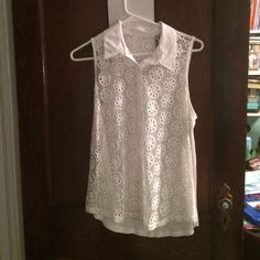 Lace/sheer tank top Worn once! great condition! no marks or rips! only flaw is the tag is ripped off Tops Blouses