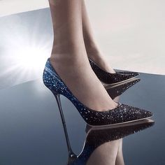 A dusting of degrade glitter takes the classic #JimmyChoo Abel pump from day to night #shoeofthday