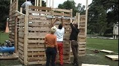 DIY, recycled pallet house with IKEA-style assembly instructions, via YouTube.