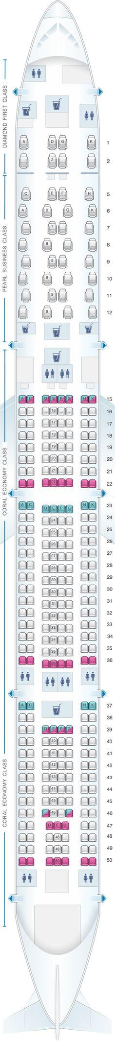 Seat Map Etihad Airways Airbus A340 600