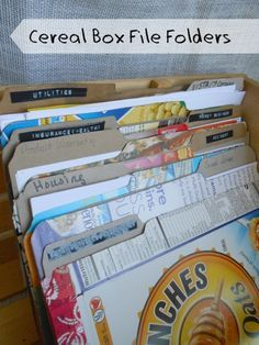 Cereal Box File Folders is part of Thin Cardboard crafts File folders are expensive y& Especially when you don& need a million at a time And the cute ones are even more expensive However, reu - Magazine Organization, Budget Organization, Organizing Ideas, Cardboard Crafts, Paper Crafts, Cardboard Boxes, Cardboard Playhouse, Cardboard Furniture, Recycled Furniture