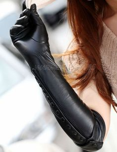 Winter Leather Gloves for Young Beautiful Ladies