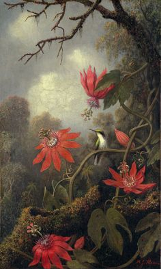 """Painting of the Day! Martin Johnson Heade (1819-1904) """"Hummingbird and Passionflowers"""" Oil on canvas 1875-1885 - To see more works by this artist please visit us at: http://www.artrenewal.org/pages/artwork.php?artworkid=20885&size=large"""