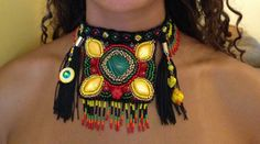 Bohemian tribal choker,beadwork statement necklace,malachite,genuine soft leather support,glass fringes and tassels.Colorful and eye catching.Unique.