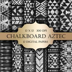 Chalkboard AZTEC Digital Paper Pack  Ethnic by ItGirlDigital