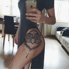Lace Lotus Flower Mandala Chandelier Hip Tattoo Placement Ideas for Women - Blac. Lace Lotus Flower Mandala Chandelier Hip Tattoo Placement Ideas for Women – Black Henna Leg Side Great Tattoos, Trendy Tattoos, Unique Tattoos, Body Art Tattoos, Sleeve Tattoos, Popular Tattoos, Maori Tattoos, Beautiful Tattoos, Hand Tattoos