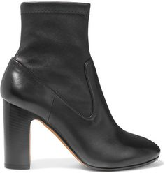 Vince's 'Calist' ankle boots have been expertly crafted in Italy from smooth leather with a stretchy sock-like upper. This black style is set on a sturdy block heel and finished with a classic rounded toe. Wear them with everything from midi skirts to cropped denim.