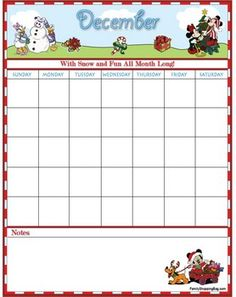 Free printable December Mickey Mouse calendar