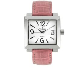 Peugeot Women's Leather Watch ($80) ❤ liked on Polyvore featuring jewelry, watches, pink, quartz movement watches, peugeot watches, pink jewelry, leather jewelry and pink leather watches