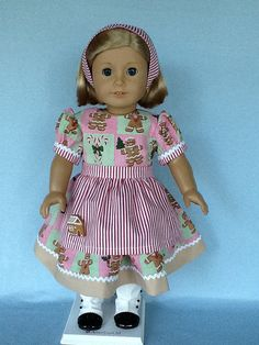 18 inch doll Christmas  dress apron and headband. by ASewSewShop