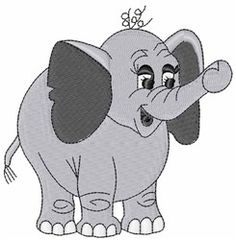 Elephant embroidery design from embroiderydesigns.com