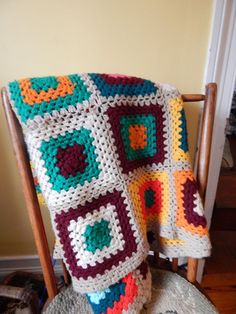Vintage HANDMADE Crocheted Granny Square AFGHAN Throw Knit Turquoise nerd #handmade