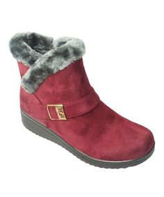 Burgundy Faux Fur Buckle Ankle Boot