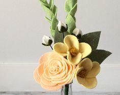 felt flower bouquet & glass vase - ranunculus, vinca, darling buds - yellow, peach, white, sage - alternative wedding bouquet / home decor