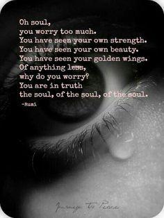"""Oh alma, te preocupas demasiado. Has visto tu propia fuerza. Has visto tu propia belleza. Has visto tus alas doradas. Nada has perdido, ¿por qué te preocupas? Llevas la verdad del alma, del alma, del alma""""."""
