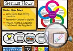 Genius Hour - Ideas for planning and implementation in the elementary classroom! (Includes a few free Genius Hour project printables to use with your students! Inquiry Based Learning, Project Based Learning, Fun Learning, Classroom Tools, Classroom Ideas, Genius Hour, Library Lessons, Library Ideas, 21st Century Learning