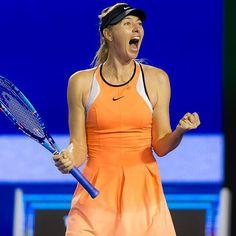 Ecstatic Sharapova wins her 4th round with a challenge on match point #serenanext #ausopen2016 #quarterfinalsnext #fistpump #mariasharapova