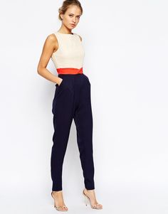 The color blocking makes it look more like a set. Little Mistress Color Block Jumpsuit