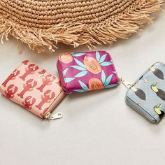 MIMI PURSE PRINTED - Lobster Printed leather purse with four separate compartments.