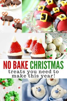 No Bake Christmas Treats - easy no bake Christmas cookies No bake Christmas treats are a fun way to gift holiday desserts without the stress. These easy no bake Christmas cookies are perfect for the holidays. Christmas Cookies Kids, Christmas Treats For Gifts, Christmas Snacks, Christmas Goodies, Christmas Candy, Holiday Treats, Simple Christmas, Holiday Recipes, Christmas Baking For Kids