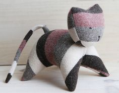 striped wool handmade kitten  natural, eco friendly and unique toy by ouistitine, $38.00