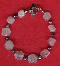 Bracelet - Rose Quartz, Freshwater Pearls, Garnet, Sterling Silver by ChicStatements on Etsy