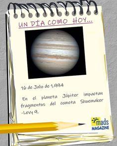 #UnDíaComoHoy El #16dejulio de #1994 varios fragmentos del #cometa #SL9 impactaron sobre #Júpiter. Fue la primera vez que observamos un choque entre cuerpos celestes fuera de la #Tierra. Desde que se descubrió los #astrónomos entendieron que era un cometa fuera de lo común... En vez de orbitar alrededor del #Sol su foco era... ¡Júpiter! #efemérides #efeméridesjulio #efeméridesdeldía #astronomía #NASA #ESA #CSA #exploraciónespacial Nasa, Sun, Kites, Planets, Jupiter Planet, Spot Lights, First Time, Earth