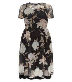 Curves Black Floral Mesh Midi Dress   New Look
