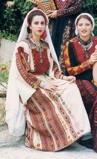 Palestinian women in traditional thobs