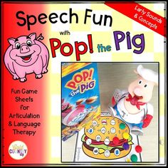 Pop the Pig Early Words! Great for PK-KG kids! Speech sounds: K-G-F-P-M-B-T-D (all positions). Categories, verbs.