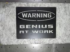 Genius at work worning sign metal cut wall art/ metal/ worning/ loft/ vintage…