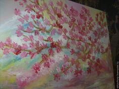 """Купить Картина """"Цветение сакуры в горах"""" масло, мастихин - картина, картина маслом, подарок"""