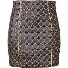 BALMAIN Scalloped Skirt in Gold/Black (35 530 UAH) ❤ liked on Polyvore featuring skirts, mini skirts, bottoms, saias, balmain, short black skirt, embroidered mini skirt, gold metallic skirt, black mini skirt and evening skirts