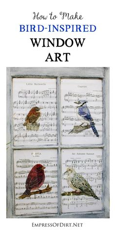 This repurposed window art features prints of hand-painted birds. It's an easy project you can make in an afternoon.