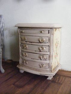 Miniature small chest of drawers by Shabbiechicminiature on Etsy