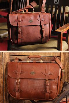 No. 83 Book Bag distinctive design available in steer hide or American Buffalo leather.  Handcrafted in Lynnville, TN USA.