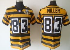 Nike Pittsburgh Steelers #83 Heath Miller Yellow With Black Throwback 80TH Jersey