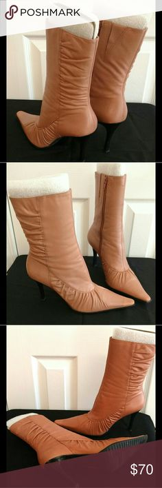 Blush Pink Leather High Heel Boots Blush pink leather high heel boots. Beautifully detailed. Excellent condition. Shoes Heeled Boots