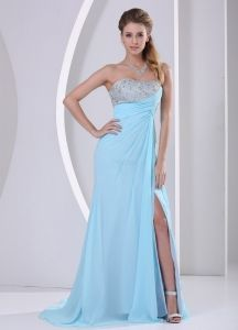 Beaded Sweetheart Light Blue Chiffon Prom Dresses with Hight Slit