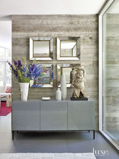 grey sideboard, luxury decor for your entryway. For more ideas : http://www.bocadolobo.com/en/inspiration-and-ideas/